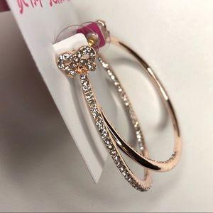 Betsey Johnson Crystal Bow Hoop Earrings
